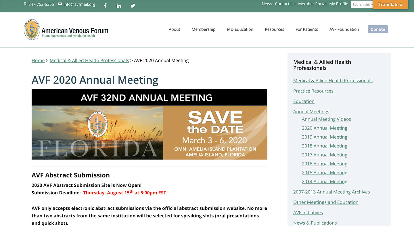 AVF – American Venous Forum – 32rd Annual Meeting