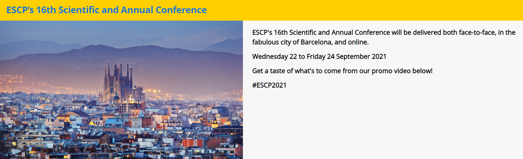 September 22-24, 2021 ESCP SCIENTIFIC AND ANNUAL CONFERENCE